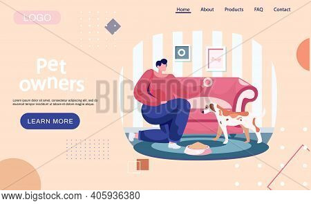 Pet Owners Landing Page Template. Woman Feeding Dog Food From Bowl At Home, Girl Training Puppy, Pla