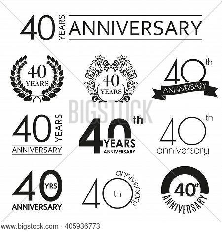 40 Years Anniversary Icon Set. 40th Anniversary Celebration Logo. Design Elements For Birthday, Invi