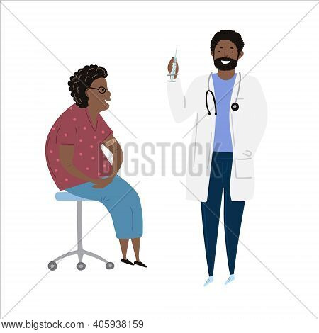 Vaccination Immunity Cartoon Set Of Hand Drawn Black Or Latino Doctor With Syringe And Black African