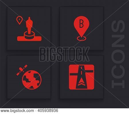 Set Gps Device With Map, Location And Monument, And Satellites Orbiting The Planet Icon. Vector