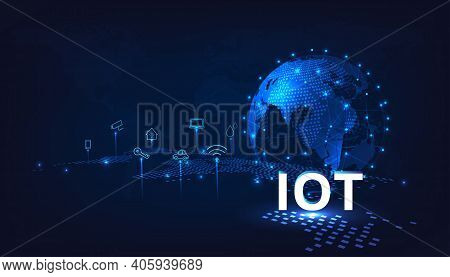 Internet Of Things(iot) Concept. Iot Design.global Network Connection. Communication Technology And