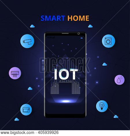 Smart Home Control Concept.internet Of Things Technology Of Home Automation System. And Internet Of