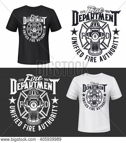 Fire And Firefighters Department T-shirt Print Mockup, Vector Template. Fireman And Firefighting Dep