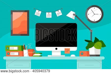 Workplace Concept. Office Table. Design For Co Working. Desktop With Computer, Folders, Coffee Mug,