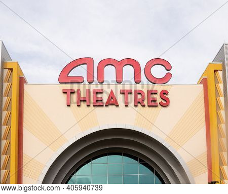 Phoenix,Az,USA-1.24.21:  AMC movie theatre.  The Robinhood stock trading app restricted trades  of AMC stock after a group on Reddit targeted the chain with the hashtag #SaveAMC.