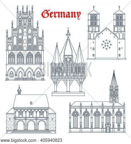 Germany Landmark Buildings And Cathedrals Icons, Vector German Travel And Famous Architecture, Vecto
