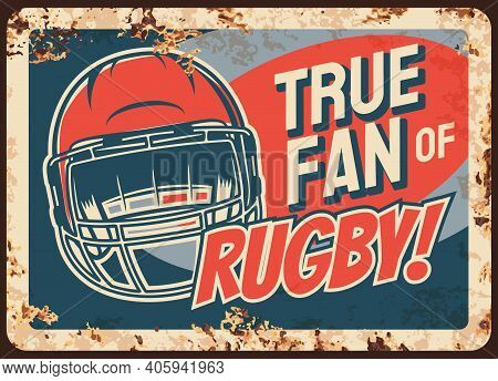 Rugby Sport Fan Rusty Metal Vector Plate. Protective Equipment, Gridiron Or North American Football
