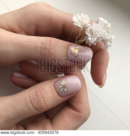 Stylish Trendy Female Pink Manicure.pink Manicure With Butterfly Design