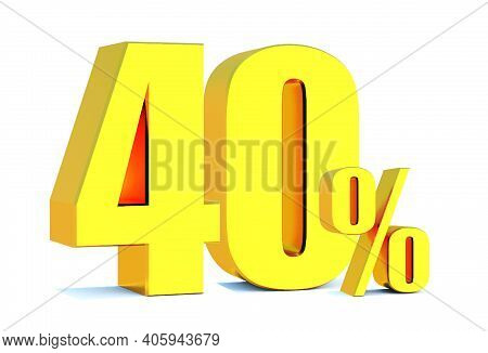 Gold 40 Percent Off 3d Sign On White Background, Special Offer 40% Discount Tag, Sale Up To 40 Perce