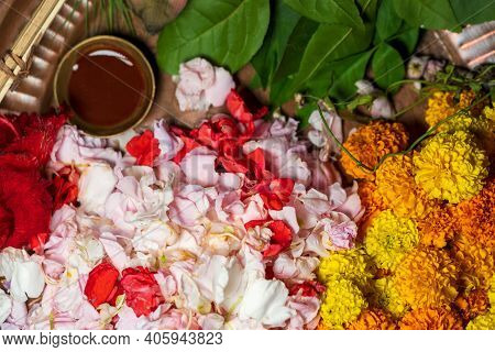 Pooja Thali Full Of Marigold Flowers, Petals, Leaves And Chandan For Pushpanjali On Vasant Panchami