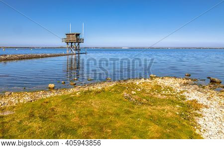 Coastline Of Grevelingen Brackish Inlet In Zeeland Province, The Netherlands.