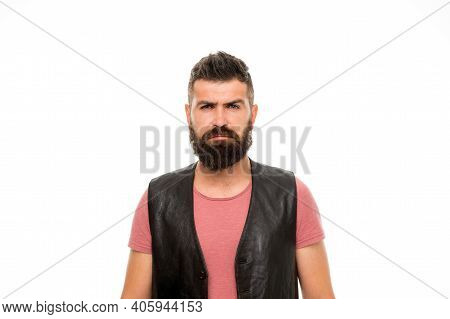 Brutal Caucasian Hipster With Moustache. Mature Hipster With Beard. Male Barber Care. Serious Man Hi