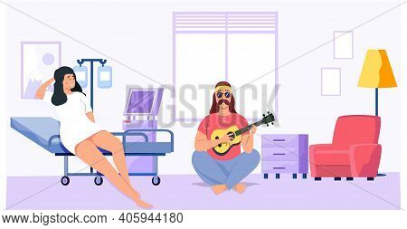 Man Playing Musical Instrument Sings With Guitar For Girl In Hospital. Cartoon Character Creates Mus