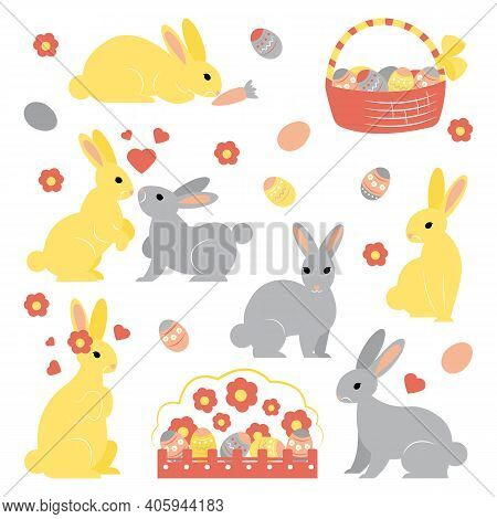 Vector Set Of Simple Shaped Cute Easter Bunnies In Different Poses. Basket With Colored Eggs. Flower