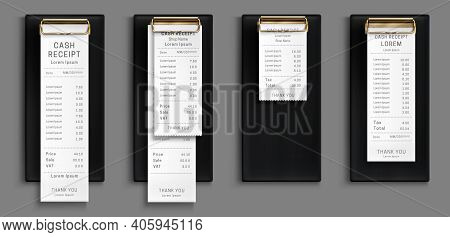 Cash Receipt On Black Clipboard, Purchase Bill Invoice, Supermarket Shopping Retail Sum Check And To