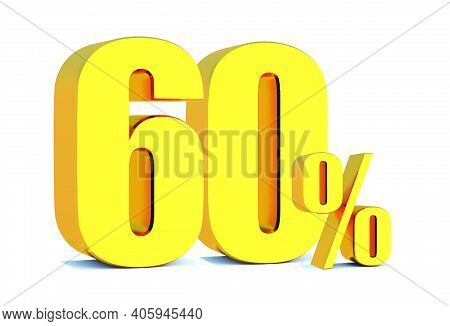 Gold 60 Percent Off 3d Sign On White Background, Special Offer 60% Discount Tag, Sale Up To 60 Perce
