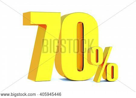 Gold 70 Percent Off 3d Sign On White Background, Special Offer 70% Discount Tag, Sale Up To 70 Perce