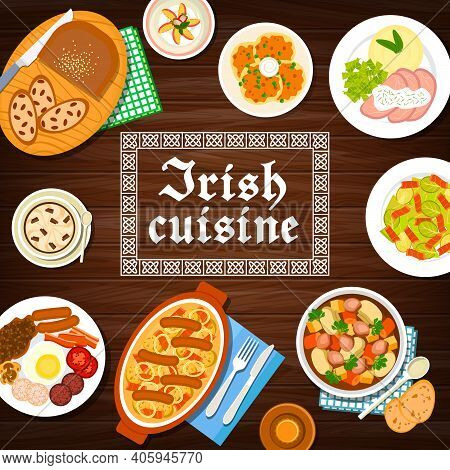 Irish Cuisine Food Menu, Breakfast Dishes, Meals Of Ireland, Vector Stew, Pudding And Bread With Rai