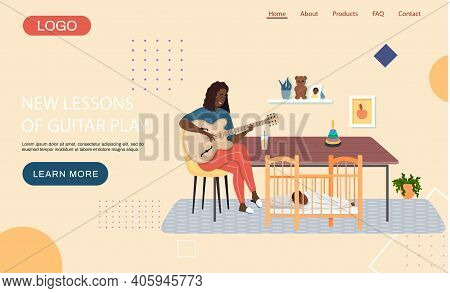 Website With New Lessons Of Guitar Play. Girl With Musical Instrument Sings Lullaby To Child At Nigh