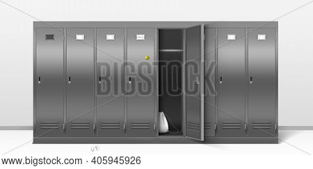 Steel Lockers, Vector School Or Gym Changing Room Metal Cabinets. Row Of Grey Storage Furniture With