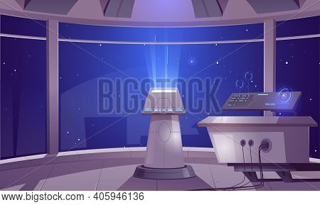 Spaceship Control Center, Captain Cabin Interior With Datacenter Hud Panel And Large Windows Cosmos