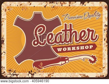 Leather Workshop Vector Rusty Metal Plate With Serrate Edge Marker And Piece Of Skin For Tailoring W
