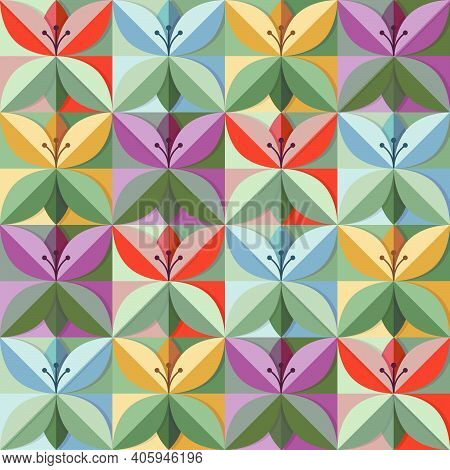 Origami Flowers In Trend Colours Seamless Pattern