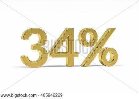 Gold Digit Thirty Four With Percent Sign - 34% Isolated On White - 3d Render