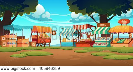 Food Market Stalls With Fruits, Vegetables, Cheese, Meat And Fish On Counter And In Crates. Vector C
