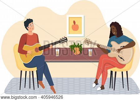 Man And Woman Are Playing Guitar In Group. Musicians Sing And Make Melody Together At Home. Cartoon