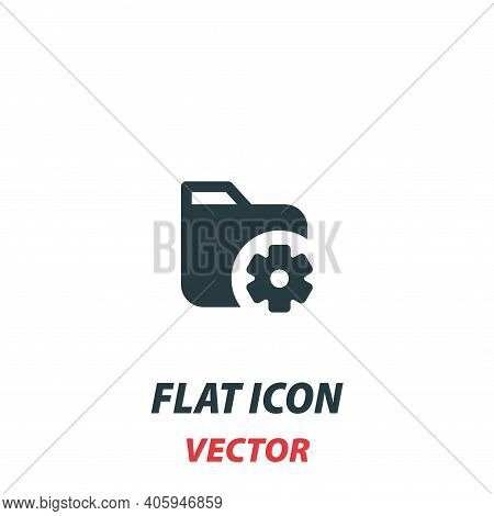 Folder With Cogwheel Icon In A Flat Style. Vector Illustration Pictogram On White Background. Isolat
