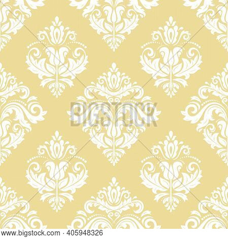 Orient Vector Classic Yellow And White Pattern. Seamless Abstract Background With Vintage Elements.