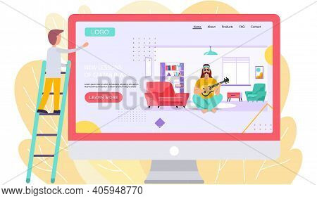 Website With New Lessons Of Guitar Play. Guy Looks At Monitor With Image Of Bard Playing Ukulele. Pe