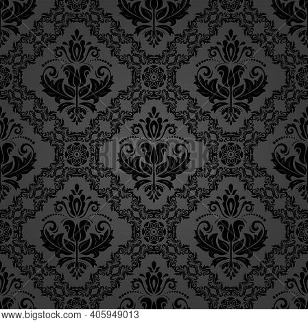 Classic Seamless Vector Pattern. Damask Orient Ornament. Classic Dark Vintage Background. Orient Orn
