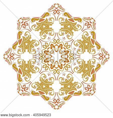 Oriental Vector Pattern With Arabesques And Floral Red And Golden Elements. Traditional Classic Orna