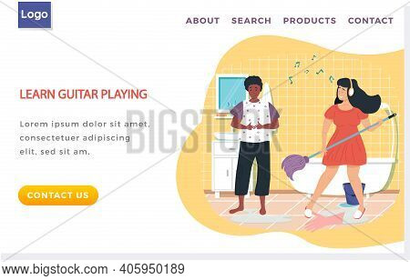 Girl With Headphones Sings Song And Washes Floor. Woman Plays Mop Like Guitar. Girlfriends In Bathro