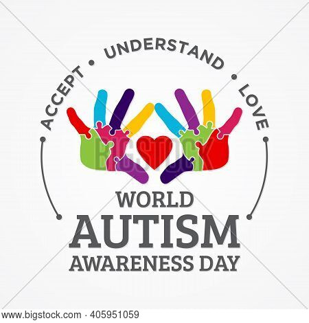 Colorful Design Word World Autism Awareness Day With Hand Puzzle. World Autism Awareness Day For Ban