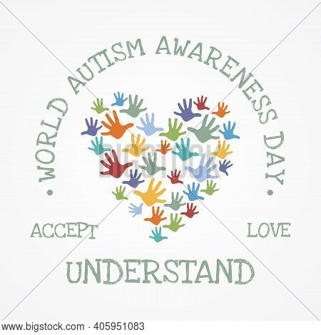 Colorful Design Word World Autism Awareness Day With Hand Puzzle Shaped Love Symbol. World Autism Aw