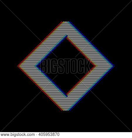 Vhs Glitch Rhombus In Retro Style. Geometry Shape With Distortion Effect. Good For Design Promo Elec