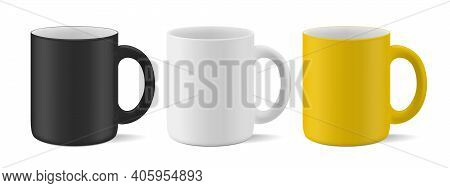 Vector Realistic Mockup (template, Layout) Of A Matte Mug For Drinks Perspective View. White, Black,
