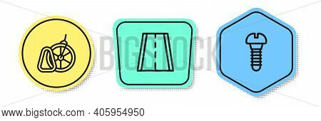 Set Line Bicycle Parking, Lane And Metallic Screw. Colored Shapes. Vector