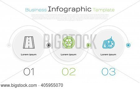 Set Line Bicycle Lane, Wheel And Parking. Business Infographic Template. Vector