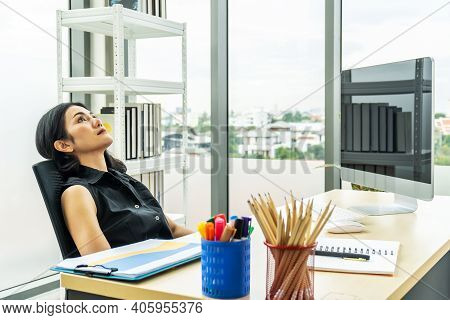 Serious Stressed Business Woman Sitting Sad And Thinking Hard How To Solve Problem In Office, Compan