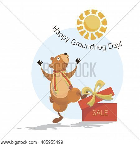 Happy Groundhog Day. Sale. Joyful Groundhog With A Gift And Shadow. Sunny Day. Vector Illustration