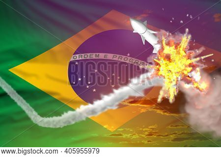 Brazil Intercepted Ballistic Warhead, Modern Antirocket Destroys Enemy Missile Concept, Military Ind