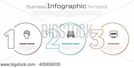 Set Line Army Soldier, Gas Mask And Military Army. Business Infographic Template. Vector