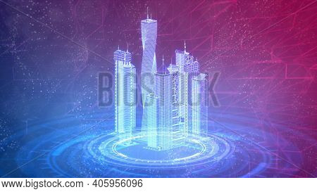 Mesh City Buildings 3d Renders, Cg Industry 3d Illustration
