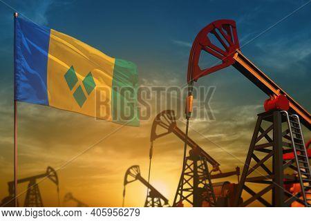 Saint Vincent And The Grenadines Oil Industry Concept, Industrial Illustration. Fluttering Saint Vin