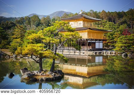 Zen Buddhist Temple of the Golden Pavilion Kinkaku-ji, officially named Rokuon-ji, Kyoto Japan