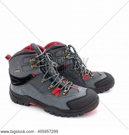 Men's Trekking Boots, Side View. Made From Natural Gray Nubuck, Mesh Material. Red And Black Trim. G